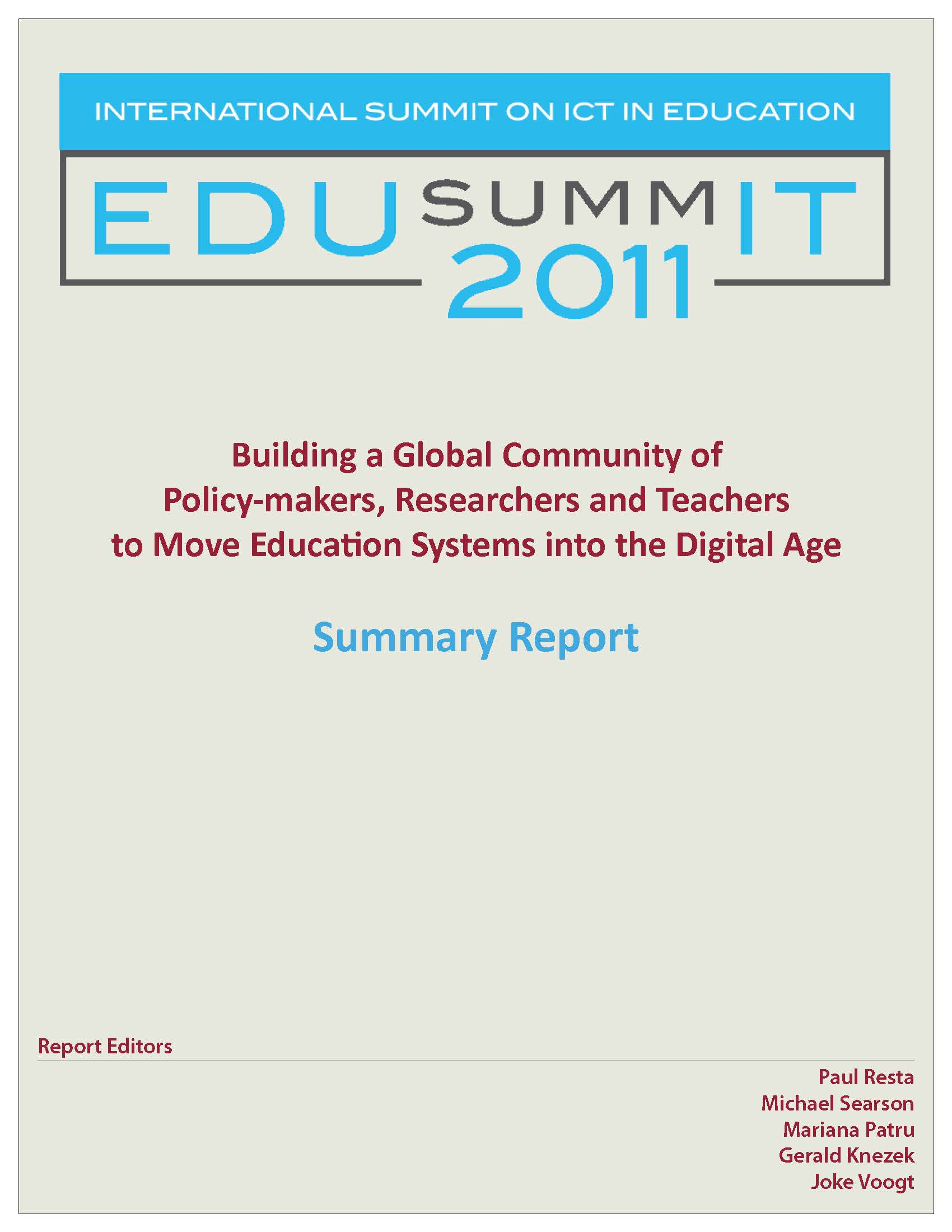 Logo for Building a Global Community of Policy-makers, Researchers, and Teachers to Move Education Systems into the Digital Age. Summary report